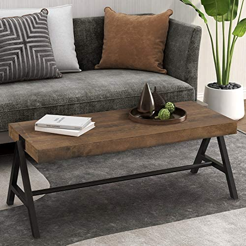 P PURLOVE Rectangle Coffee Table for Living Room 43.3 Inch Coffee Table with Metal Legs, Easy Assembly Coffee Table with Durable Metal Frame Brown