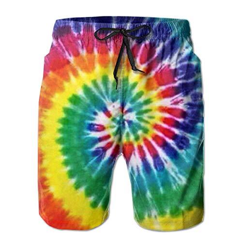 Rainbow Tie Dye Men's Beach Shorts Swim Trunks Quick Dry Board Shorts with Pockets