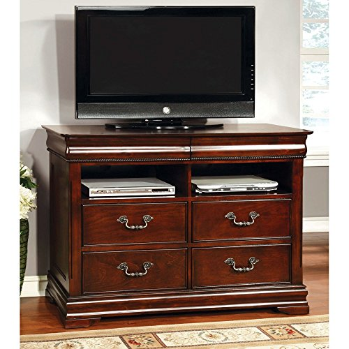 Furniture of America Grand Central 4 Drawer Media Chest - Cherry Cherry Heirloom Vanity