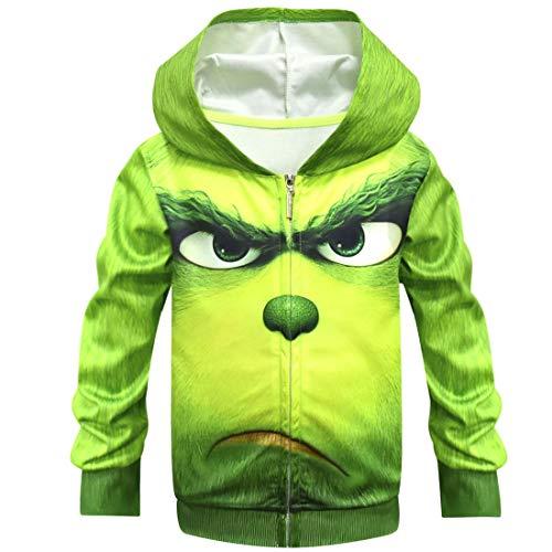 YANGGO Children Kids 3D Grinch Costume Zipper Hoodie Sweatshirt Pullover Hooded Shirt Outwear Jacket (B-Coat, 14) -