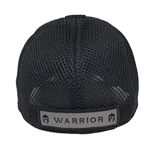 Condor Flex Mesh Cap, BLACK + Flag & Warrior Patch, Fitted Tactical Operator Hat