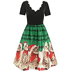 GOVOW Christmas Vintage Dresses for Women Plus Size Long Sleeve Short Sleeve Cats Musical Notes Print Flare Dress