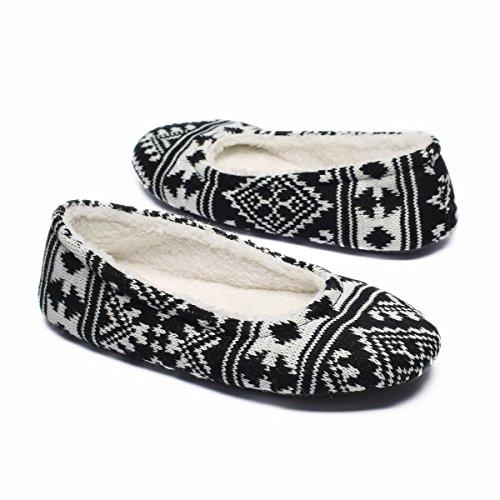 Ofoot Women's Acrylic Fibers Jacquard Ballerina Slippers with Snowflake Patterns (Medium / 7-8 B(M) US, Black)