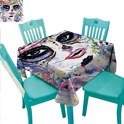 WilliamsDecor Sugar Skull Easy Care Tablecloth Halloween Girl with Sugar Skull Makeup Watercolor Painting Style Creepy Look for Kitchen Dinning Tabletop Decoration 54