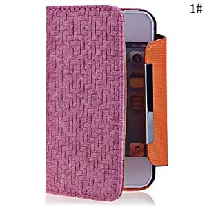 HP DFKnit Lines Pattern Leather Full Body Case for iPhone 4/4S(Assorted Color) , Pink