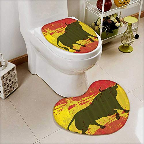 vanfan Toilet Heart shaped foot pad iard Spain Flag Grunge Digital Clip Funky Lovely Home Bathroom Washable Non-Slip by vanfan