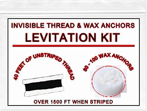 INVISIBLE MAGICIANS THREAD & WAX: Easy levitation kit. Buy gimmick for close up street magic illusions. Props & accessories for magic. Cool easy best most popular pranks gags. Floating Halloween. -
