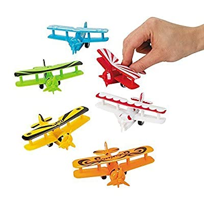 Fun Express Plastic Pullback Airplanes Planes Party Favor Toys - 12 pieces