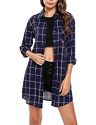Fanala Women's Loose Long Sleeve Button Down Plaid Tunic Shirt Top Blouse Dress