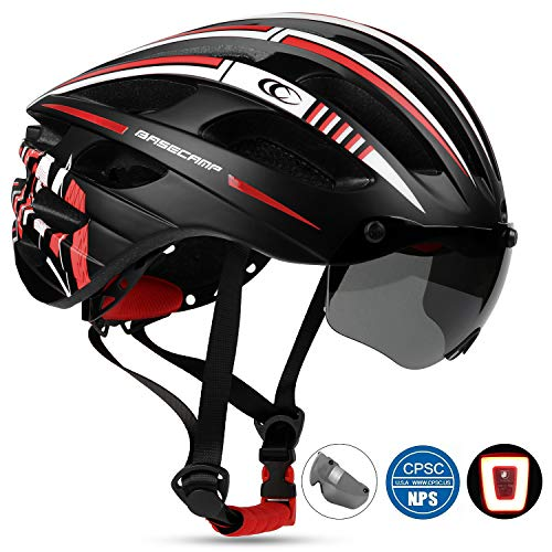 Shinmax Bike Helmet,CPSC Safety Standard Bicycle Helmet with USB Rechargeable LED Light&Magnetic Goggles BMX Helmet Adjustable&Comfortable for Adult Men&Women Youth for Cycling/Mountain/Road