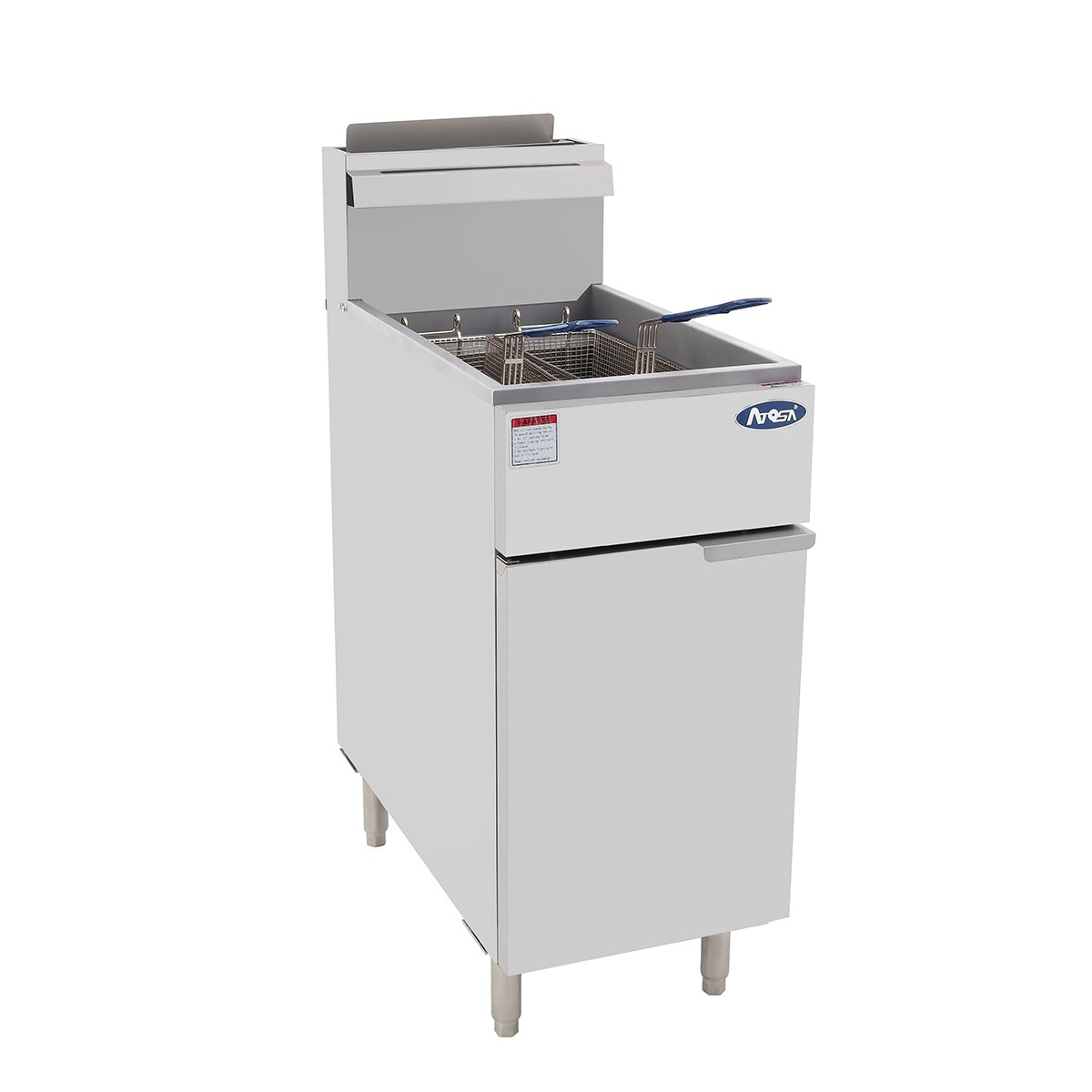 Atosa USA ATFS-50 (High BTU 120k) Heavy Duty 50 lbs Stainless Steel Deep Fryer - Propane