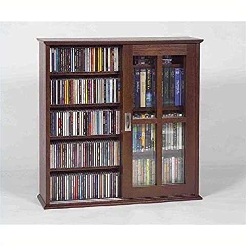 Leslie Dame MS-350W Wall Mounted Sliding Door Mission Style Media Storage Cabinet, Walnut (Cd Cabinet Mission)