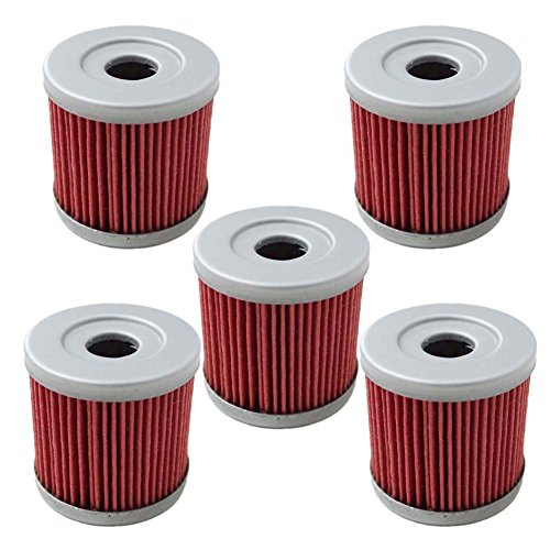 (HIFROM Pack of 5 Oil Filter fit for Suzuki DRZ400E DRZ400S DRZ400SM 2000-2013 Replace HF139 & KN139)