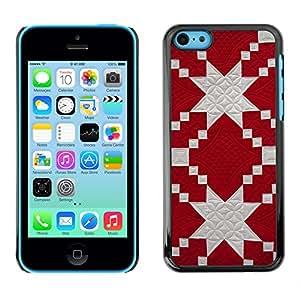 X-ray Impreso colorido protector duro espalda Funda piel de Shell para Apple iPhone 5C - Pattern Jewish Red White Fabric