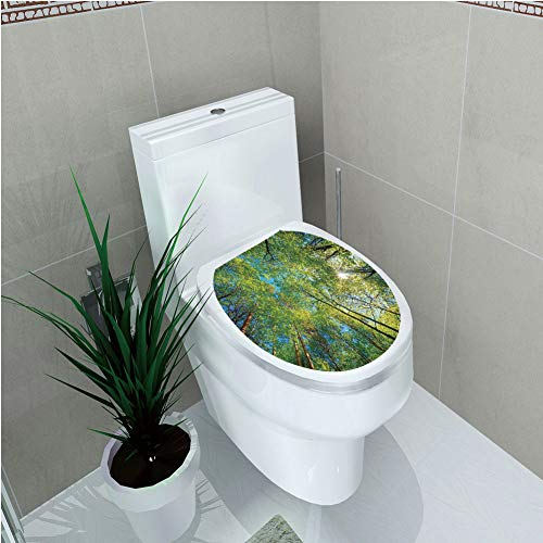 - Toilet Cover Sticker,Forest Home Decor,Evergreen Back Nature Area Mother Earth Lime Trunk Mangrove Flora Willow Decor,Green,Custom Sticker,W12.6