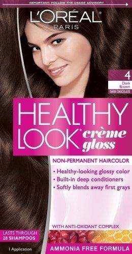 Loreal Healthy Look Hair Dye, Creme Gloss Color, Dark Brown 4, 1 ct (Pack of 3)