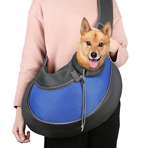 TTWO Pet Sling Carrier Bag, Hand-free Dog Cat Outdoor Travel Shoulder Bag with Adjustable Strap& Zipper (L, Blue)