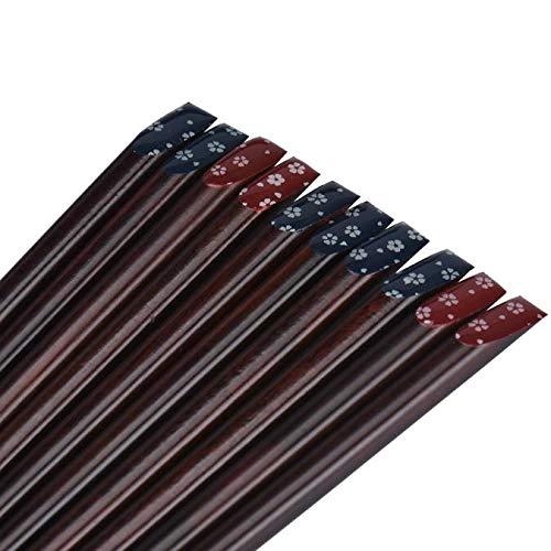Japanese Chopsticks Wood Print Chopsticks Natural Bamboo Chopsticks Washable Wooden in Noble Casket Gift Box Reusable Chinese Tableware 5 Pairs Set  22.5cm