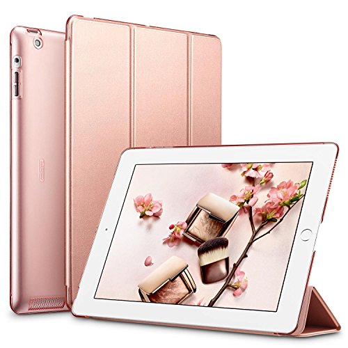 ESR Yippee Smart Case for iPad 2 3 4, Smart Case Cover [Synthetic Leather] Translucent Frosted Back Magnetic Cover with Auto Sleep/Wake Function [Light Weight] (Rose Gold) (Ipad First Generation Smart Case)