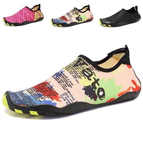 SiMYEER Männer Frauen Barfuß Quick-Dry Wasser Aqua Schuhe Haut Flexible Socken für Schwimmen, Wandern, Yoga, See, Strand, Garten, Park, Fahren, Bootfahren Gelb