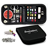Compact Sewing Kit for Home, Travel, Camping & Emergency. Best Gift for Kids, Girls, Beginners & Adults. Quality Premium Mini Sew Supplies Set. Expansive Case with 100 Extra Pins & Safety Pins