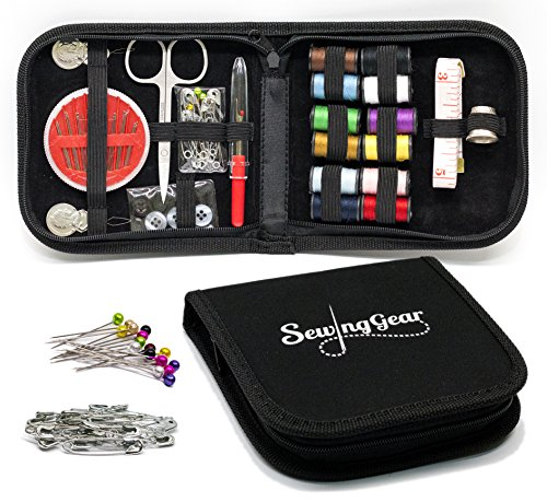 Compact Sewing Kit for Home, Travel, Camping & Emergency. Best Gift for Kids, Girls, Beginners & Adults. Quality Premium Mini Sew Supplies Set. Expansive Case with 100 Extra Pins & Safety Pins by Sewing Gear
