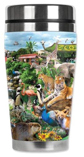 Mugzie Zoo Animals Travel Mug with Insulated Wetsuit Cover, 16 oz, Black by Mugzie