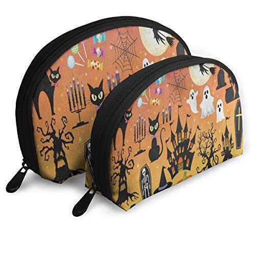 Makeup Bag Halloween Sugar Skull Owl Cat Tree Ghost Handy Half Moon Beauty Bags Case For Women