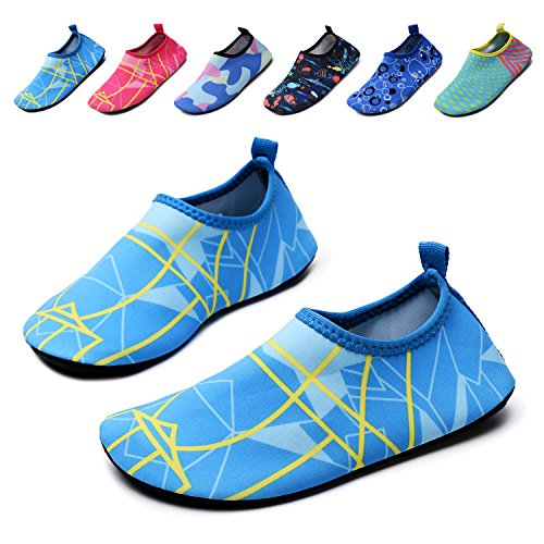 lewhosy Kids Boys and Girls Swim Water Shoes Quick Drying Barefoot Aqua Socks Shoes for Beach Pool Surfing Yoga(26/Light Blue) by lewhosy (Image #1)