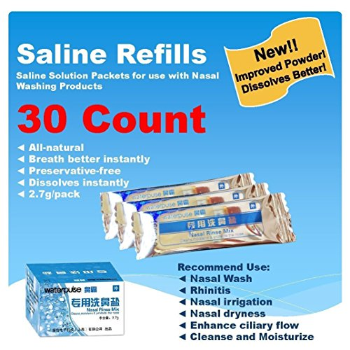 Kit Refill Rinse Sinus Packets (Tonelife 30 Count Saline Nasal Care Refills,Nasal Cleaning Solution,Nasal Rinse Mix,Sinus Rinse Premixed Refill Packets,All Natural Powdered Saline Convenient Packets,Salt Premixed Packets)