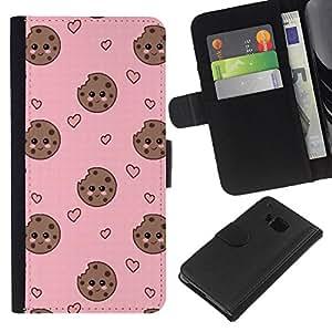 Planetar® Modelo colorido cuero carpeta tirón caso cubierta piel Holster Funda protección HTC One M7 ( Cookie Heart Face Smiley Sweet Pink )