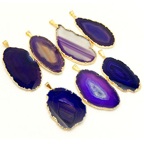 1 Purple Agate Slice Pendant Gold Plated Rock Paradise Exclusive Certificate of Authenticity AM8B7-02 - Exclusive Jewelry