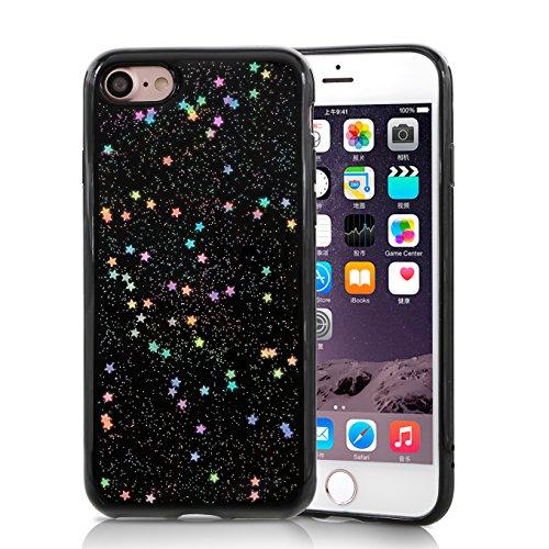 iPhone 8 Case, iPhone 7 Case, TILL (TM) Clear Bling Glitter Shockproof Anti-Fingerprint Sparkle Crystal Star Pattern Slim Soft TPU Protective Phone Cover Bumper Case for iPhone 7/8 (4.7 Inch) -Black - Glitter Stars Black Shield