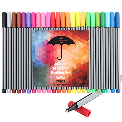Jx Hornet NMK-01 Art Colored Fineliner Sketch Drawing Pen, Drawing & Art Supplies Fine Point Pen,ink Width 0.4mm, Pack of 24 Assorted Colors (24)