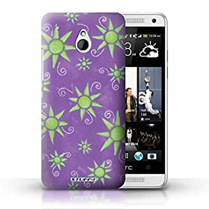 KOBALT? Protective Hard Back Phone Case / Cover for HTC One/1 Mini | Purple/Green Design | Sun/Sunshine Pattern Collection