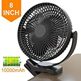 Clip Fan Battery Operated, 8 Inch 10000mAh Rechargeable Fan for Baby, 4 Speeds & 10W Fast Charging, Portable Cooling USB Fan for Baby Stroller Golf Cart Car Gym Treadmill,2 in 1 Desk&Clip Fan-Black