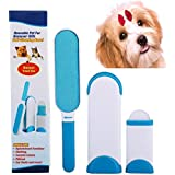 Pet Fur and Lint Remover With Self -Cleaning Base Double Sided Brush Removes Cat&Dog Hair From Furniture&Clothes With Travel Size
