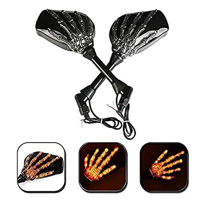 OKSTNO LED Skull Skeleton Hand Claw Side Mirrors Rearview Mirrors With Turn Signals For Motorcycle with 8mm 10mm Thread Bolts, Left & Right: Automotive
