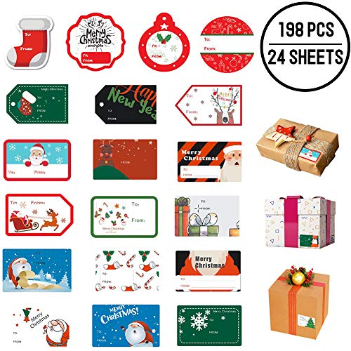 198 PCS Christmas Gift Tags Sticker Self Adhesive, Xmas Name Tag Stickers Santa Snowmen Xmas Tree Deer Design for Festival Presents, Wrapping Paper and Gift Bags