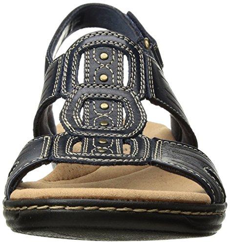 Clarks Womens Leisa Vine Platform, Navy Leather, 9.5 Medium US
