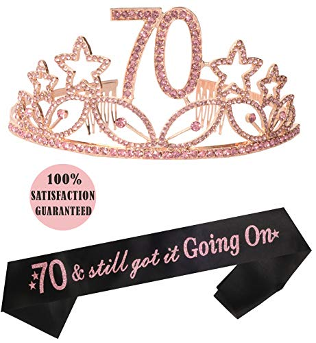 70th Birthday Tiara and Sash, Happy 70th Birthday Party Supplies, 70th Black Glitter Satin Sash and Crystal Tiara Birthday Crown for 70th Birthday Party Supplies and Decorations (Pink)