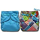 Bumwrap (2 Pk) Charcoal Bamboo Pocket Cloth Diaper Double Gussets with 5 Layer Insert -Teal
