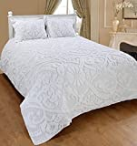 Saral Home Fashions Relief Chenille Bedspread with Sham, Full, White