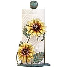 Metal Sunflower Paper Towel Holder, Yellow