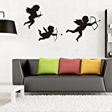❤️ Yu2d ❤️ Personalized Cupid Angel Wall Stickers Living Room Nursery Bedroom Decor