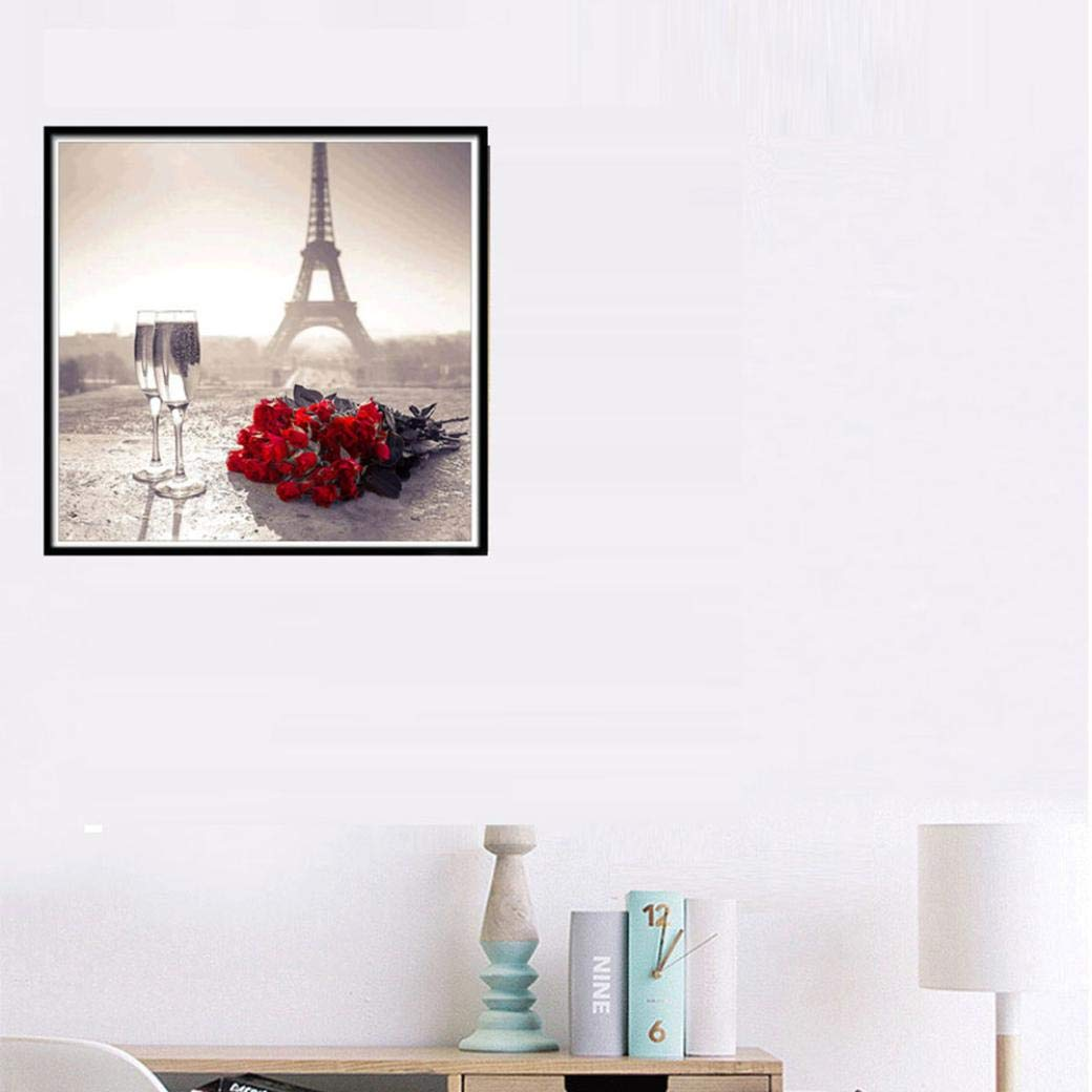 30 x 30CM Paris Eiffel Tower Red Rose Large 5D Embroidery Rhinestone Pasted DIY Cross Stitch Drawing Favor Creative Symbol of Romantic Love Cinhent Diamond Painting