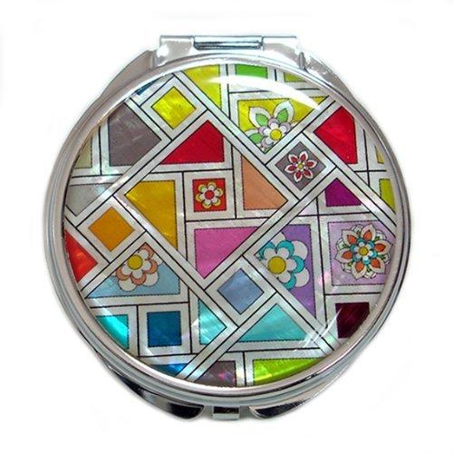 Specchio Compatto Doppio Ingranditore in Madreperla Specchio Per Truccarsi Per Trucchi o Cosmetici Specchio Tascabile Con Motivo Mosaico Giallo Arancione Blu Antique Alive