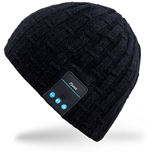 Mydeal Washable Bluetooth Music Hat Winter Warm Soft Knitted Trendy Short Skully Beanie Cap W/ Wireless Headphone Headset Earphone Mic Hands Free for Excrise Gym Sports Fitness Running Skiing – Black