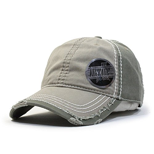 Vintage Washed Cotton Twill Distressed Trim Visor Baseball Cap w/Adjustable Velcro (Various Colors) (D. Khaki/D.Khaki/Olive) (Beanie Cotton Twill)