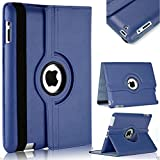 TGK® 360 Degree Rotating Leather Smart Case Cover Stand (Auto Sleep/Wake Function) for Apple iPad 2, iPad 3, iPad 4 (A1458, A1459, A1460, A1416, A1430, A1403, A1395, A1396, A1397) -Dark Blue